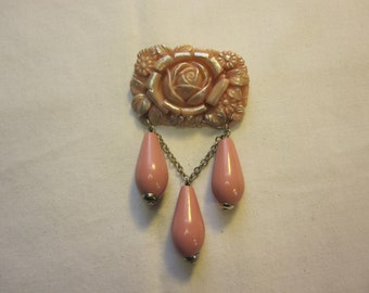 Molded Pink Rose Brooch with Large Pink Drops