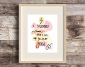 Up to No Good - Harry Potter Marauder's Map Quote Art - I Solemnly Swear - Watercolor - Illustration - HP Fan Art - Magic - Hogwarts - Print