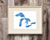 Oasis - Great Lakes Watercolor Art Print - Michigan - Midwest - Map Painting - Made in Michigan - Blue & White - Cottage - Lake House