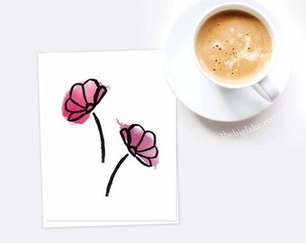 Poppies - Greeting Card - Floral - Flowers - Watercolor - Stationery - Notecard - Blank Cards - Pretty Stationery - Red Flowers