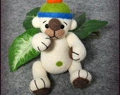 Needle felted teddy bear,thread jointed, soft sculpture, felted art, felted animal