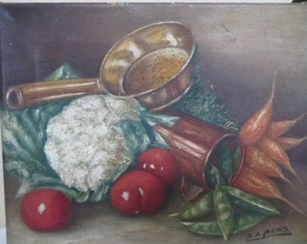 Vintage Oil Painting SIGNED / FOLK ART Still Life  Primitive / 9 1/2 by 12 / Americana