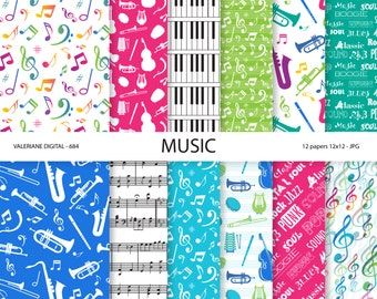Music Digital papers, music score, musical instruments, music, music notes, scrapbook papers- 12 jpg files 12x12 - 684