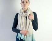 Linen and seafoam knitted wrap / blanket scarf - made in Britain from lambswool