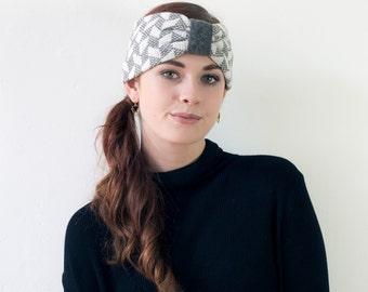 Chevron knitted headband - cliff and white - lambswool headband made in Britain