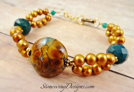 Artisan Lampwork, Gemstone and Pearl Bracelet in Gold and Green