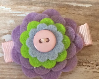 Lavender, Lime, Ice Blue and Pink Wool Felt Flower Hair Clip Clippie Baby Toddler Girls