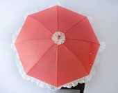 Red Victorian Parasol, Cherry Red with Cream Lace & a single Red Rose.