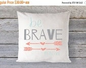 """10% off Thru 4/18 Pillow Cover 16"""" x 16"""" - Be Brave Little One // Arrows // Coral, Grey and Mint - Custom Colors welcome!"""
