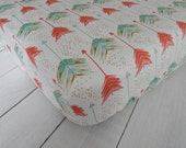 Fitted Crib/ Toddler Sheet - Watercolor Arrows // Emily Sanford // Coral,  Aqua and Gold on White