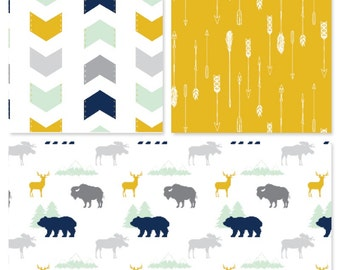 Grace and Cruz EXCLUSIVE Fabrics Design Your Own - Navy + Mint + Mustard + Navy in  Woodland Camping Crowd, Arrows and Cross Beas Moose