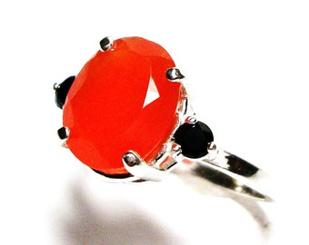 "Carnelian, carnelian ring, carnelian 3 stone ring, orange, orange black, s 7 1/2  ""Jack O' Lantern"""