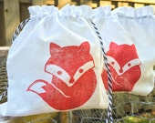 """New! Red Foxy Fox Muslin Favor Bag, Hand Stamped Muslin, Party Favor Fabric Bag 5""""x6"""""""