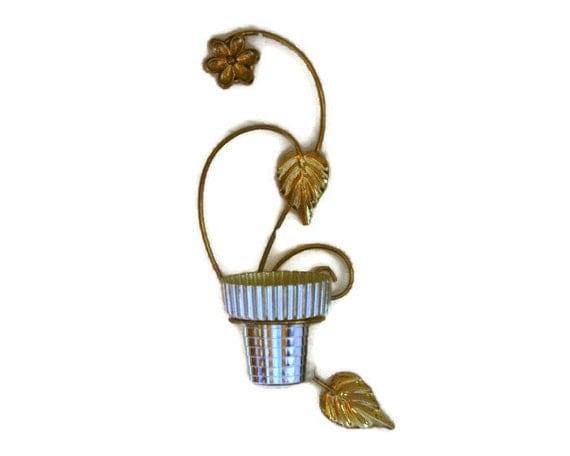 Vintage Plant Pot, Plant Hanger, Hanging Planter, Flower Pot Holder, Gold Mid Century Wall Art