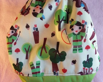 SassyCloth one size pocket diaper with Robin Hood PUL print and green PUL front. Made to order.