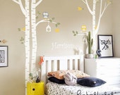 Wall Decals  - Birch Tree, Owl, Bird and Custom Name -  Kids Baby Nursery Wall Decals