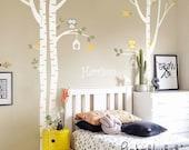 Wall Decals  - Birch Tree, Owl, Bird and Custom Name -  Kids Baby Nursery Wall Decals