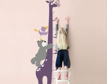 Kids Growth Chart : Giraffe Growth Chart - Nursery Kids Removable Wall Vinyl Decal