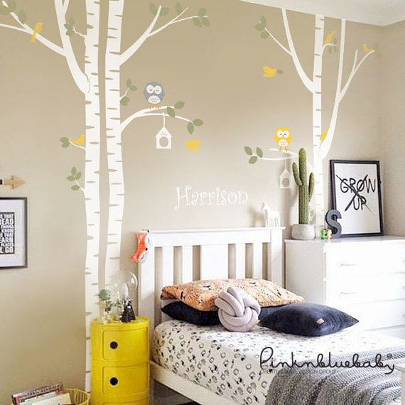 Birch Trees Wall Decal - Owl Nursery Wall Decal