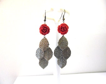 Gothic Red Rose Earrings Black Leaf Shimmering Dangle