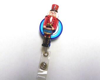 Christmas Holiday Nutcracker Retractable ID Badge Reel Name Tag Holder