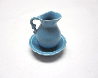 Miniature Pitcher And Bowl Jug Blue Set