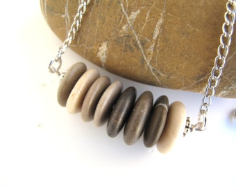 Beach Stone Cairn Necklace Stone Necklace Rock Jewelry Mediterranean Natural Stone Jewelry River Stone Necklace Silver - 8 FOREVER
