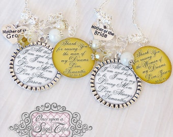 Mother of the Bride Jewelry-Mother of the Groom Jewelry-Thank you Gifts Parents- Gift from Groom-Gift from Bride-Gold Wedding- for Parents