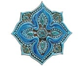 Mandala wall decor made from ceramic - outdoor wall art - ceramic tile - mandala 5 cutout - turquoise