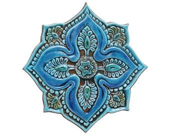 Mandala wall art with spiritual design / Meditation art / Spiritual gift / Yoga art / Mandala decor/ wall tile / #5 cutout / Turquoise