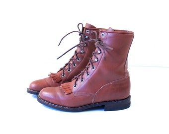 vtg 80s RUSSET lace up ROPER BOOTS fringe 6.5 red brown leather grunge western cowboy motorcycle punk