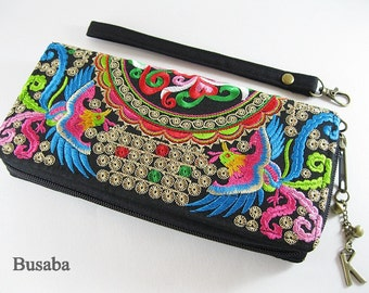 Personalized Monogramed Wallet, Rainbow Phoenix Bird Embroidered Zippered Wallet, Colorful Hmong Tribal Long Wallet