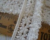 """Boho Flower Lace Fringe trim 1.25"""" wide cotton applique lace natural ecru festival embellishment tatted look loop fringe"""