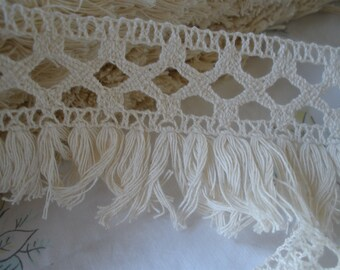 "Boho Crochet Criss Cross Lace & Tassel Fringe trim 2.5"" wide cotton yards BTY sewing crafts costume home decor natural off white ecru"