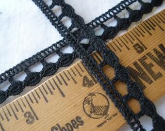 "Black Cotton Crochet Lace Trim 1/2"" 13MM wide drop circles cluny lace ric rack edge retro yardage boho"
