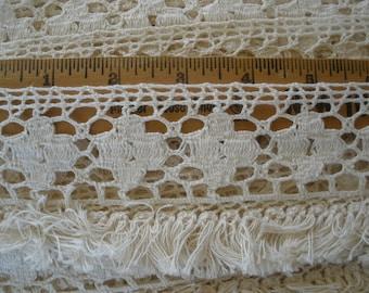 "Boho Crochet Flower Lace & Tassel Fringe trim 2.75"" wide cotton yards yardage sewing crafts costume home decor natural off white"