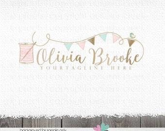 sewing logo applique logo logo premade logo logo design sewing bunting logo design logos and watermarks logo photography logo for sewing