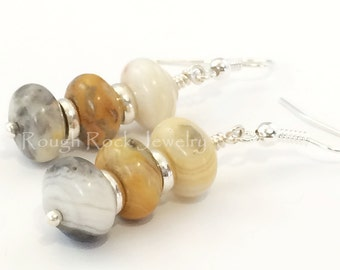Crazy Lace Agate Earrings / Agate Earrings / Agate Jewelry /  Stone Earrings / Dangle Earrings