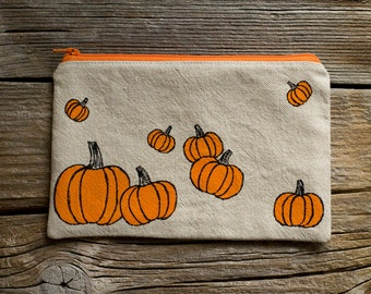 Hand Painted Orange Pumpkins Zipper Pouch, Natural Linen and Cotton Cosmetic Bag, Nature Inspired Fall Accessories, Halloween