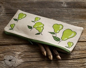 Hand Painted Pears Pencil Case, Natural Linen and Cotton Pen Holder, Nature Inspired School Supplies