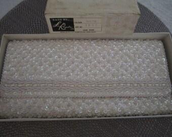 Vintage Beaded White Le Regale Ltd. Evening Wedding Clutch Handbag Purse Hand Made Formal Bag