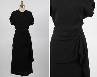 1940s dress/ 40s rayon crepe dress/ small