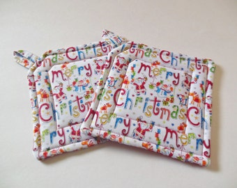 Pair Of Merry Christmas Fabric Potholders, Set Of Two Quilted Potholders
