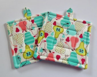 Pear Fabric Potholders, Set of Two Quilted Potholders, Potholders
