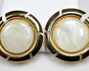 Vintage Sarah Coventry Clip On Earrings - Goldtone Jacket / Moon Glow Lucite - Designer Signed - Estate Sale Jewelry - Great Holiday Gift