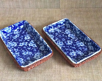 Set of 2 Blue and White Dishes with Woven Basket--Blue and White Ceramic--Floral Ceramic