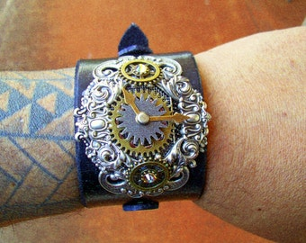 Steampunk Leather Wristband (C500) - Adjustable Black Leather Cuff - Silver Plated Scrollwork Stamping with Brass Gears - Swarovski Crystals