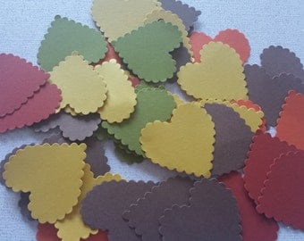 100 Fall Color Scalloped Hearts Die Cuts