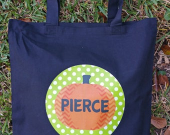 Personalized Pumpkin Trick or Treat Bag, Tote Bag, Personalized Halloween