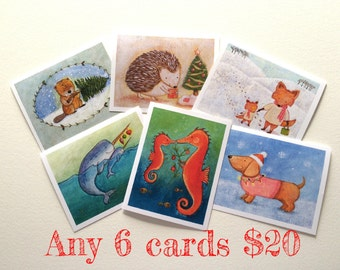 Any 6 Christmas Cards - mix and match by Megumi Lemons